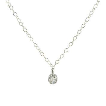 Tiny CZ Silver Necklace