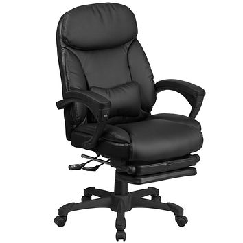 High Back Leather Executive Reclining Swivel Office Chair with Comfort Coil Seat Springs and Padded Armrests