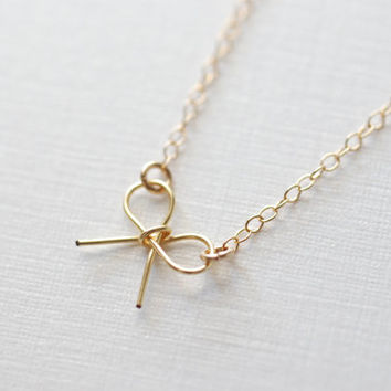 Gold Bow Necklace - 14 karat gold filled bow, Dainty Jewerly by HeirloomEnvy