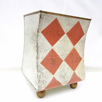 Vintage Metal Trash Can, Waste Basket, Embossed Harlequin Decor, Peaches and Cream