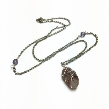 Beach Calcite Necklace Hand Picked Beach Rock Necklace Beach Calcite Rock Pendant Necklace Beach Jewelry Calcite Stone Necklace (N73)