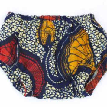 Red Ginko African Wax print Baby Bloomers