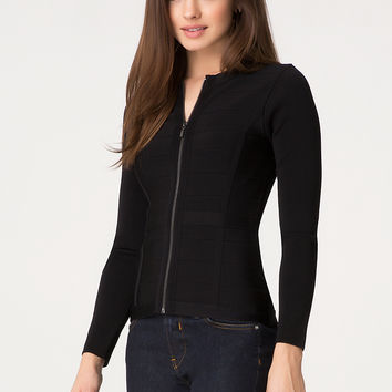 bebe Womens Long Sleeve Bandage Jacket