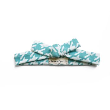 Cats-Tooth Organic Stretch Knit Head Tie in Turquoise For Women