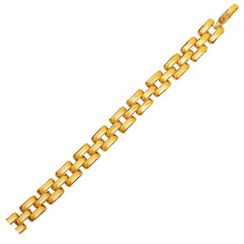 Three-Row Panther Link Bracelet in 14K Yellow Gold