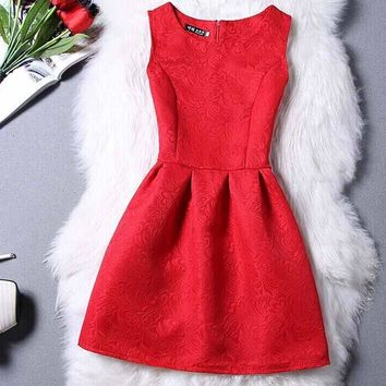Women's Elegant A-Line Mini Body on Casual Party Dress.
