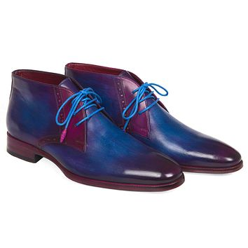 Paul Parkman Men's Chukka Boots Blue & Purple Shoes (ID#CK55U7)