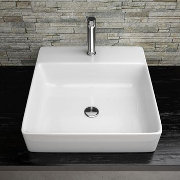 Gio White One Hole Ceramic Vessel Sink Above Counter Sink Lavatory Washbasin