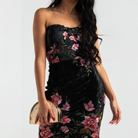 AKIRA Sexy Midi Dress with Embroidered Flowers in Black