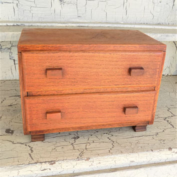 Hand Crafted Wood Box, Two Drawer, Wood Handles, Jewelry Box, Sewing Box