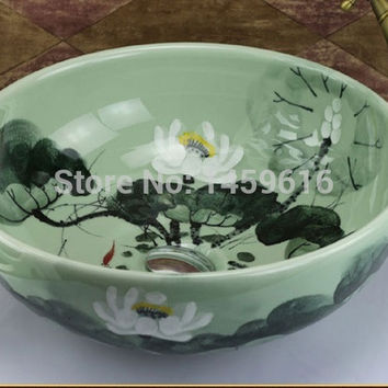 Round Bathroom Ceramic Counter Top Wash Basin Cloakroom Hand Painted Vessel Sink Bowl 5001