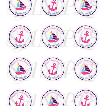 Nautical sticker Cupcake Topper, Tags,. Birthdays and Baby Shower for girl. Anchor, Sail Boat. Girl nautical baby shower