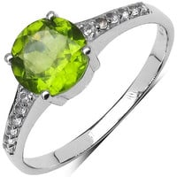 Peridot And White Topaz Sterling Silver Ring