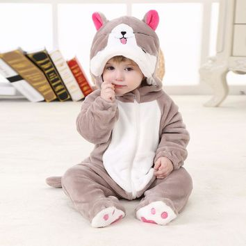 V-TREE Winter Baby Rompers Fleece Jumpsuit For Kids Animal Suit Girls Pajamas Bear Costumes Cosplay Romper Roupas De Bebe Menino