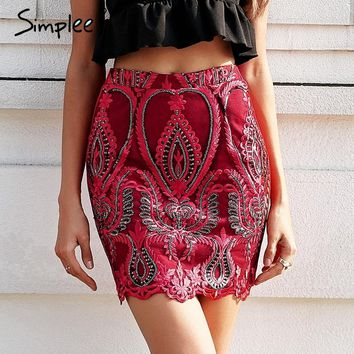 Simplee Sequin mesh embroidery pencil skirt women Zipper elastic streetwear summer skirt 2018 High waist red mini skirt sexy