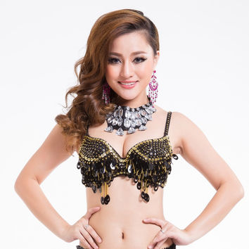 Twinkling Sequined Belly Dance Bra Top Beaded Fringe Dancing Costume Sexy YRD