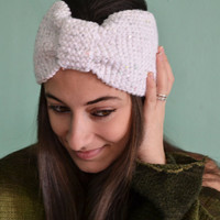 Knitted Headband White Headwarmer with Silver Sequins Wide Headband Ear Warmer - Handmade