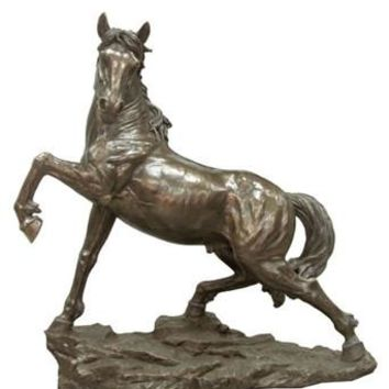 Horse on Rocks Looking Left Statue Bronze Finish Grande 50L - 8346