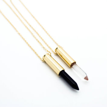 Bullet crystal long necklace