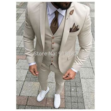 Men Suits With Pant 2018 Terno Masculino Slim Fit Smoking Formal Tuxedo Beige 3 Pieces Wedding Suits For Men Groomsman Suits