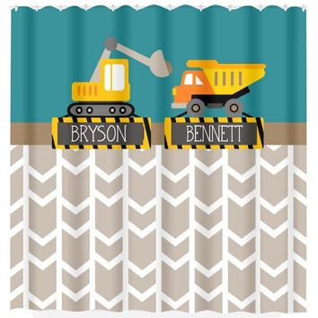 Construction SHOWER CURTAIN Custom Monogram Personalized Boy Dump Truck Brothers Bathroom Bath Towel,  Bath Mat
