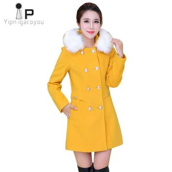 Long Woolen Coat Women Winter New Pink Double Breasted Big Fur Collar Hooded Wool Blend Coat Fashion Warm Overcoat Women Jacket