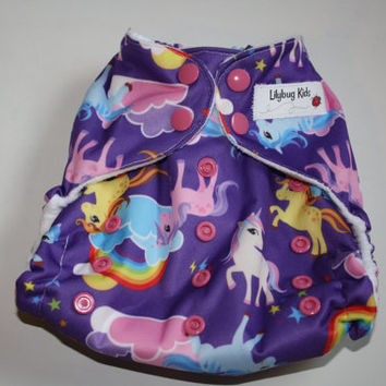Sale: Cloth pocket diaper w/ Unicorns, Horses, & rainbows, one size, ready to ship