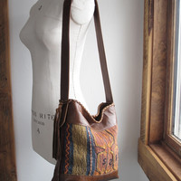 Kilim Bag, Leather Fringe Bag, Tribal Bag, Brown Leather Bag, Carpet Bag, Leather Hobo,Southwestern Bag, Satchel
