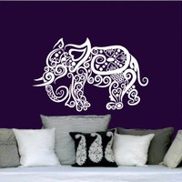 Wall Decal Elephant Vinyl Sticker Decals Lotus Indian Elephant Floral Patterns Mandala Tribal Buddha Ganesh Om Home Decor Bedroom Art Design Interior NS382