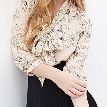Beige Floral Bow Tie Front Three Fourth Sleeve Chiffon Blouse