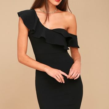 Give Me a Beat Black Off-the-Shoulder Bodycon Midi Dress