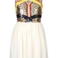 Sequin Panel Skater Dress - Going Out  - New In