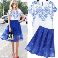 White Filigree Print Short Sleeves Top And Blue Sheer Mesh Lace Swing Skirt