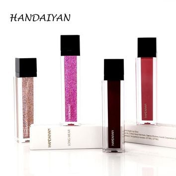 HANDAIYAN Gold Silver Glitter And Matte Lipstick Waterproof Red Matte Lips Gloss Liquid Lipstick Cosmetic Beauty Lip Color