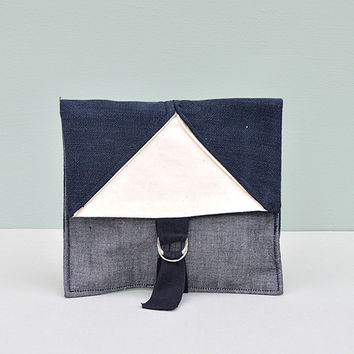 Origami Black Denim Pouch Travel/Makeup/Sewing Bag by Desire Lines