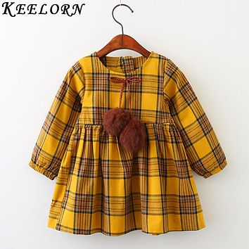 Keelorn Girls Dress Autumn Winter Brand Girl Clothes Plaid Fur Ball Bow New Design Baby Girls Dress Girls Casual Dresses Kids
