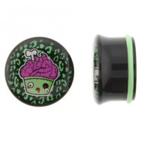 Black Acrylic Plug With Zombie Cupcake Logo On Single Flare With O - Ring - Sold As A Pair
