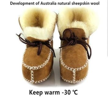 New arrived Hot sell  Australia Wool Winter infants warm shoes fur girls baby Moccasins Sheepskin Genuine Leather boy baby boots