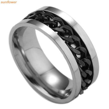 1 Piece Fashion Spinner Black Chain Ring For Men Punk Titanium Steel Metal Vnox Brand Finger Anel