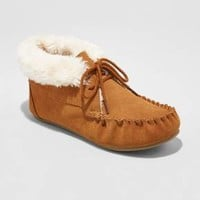 Women's Corene Shearling Suede Tie Front Moccasin Slippers - Mossimo Supply Co.™ Chestnut