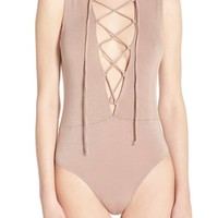 Olympia Theodora Stretch Modal Lace-Up Thong Bodysuit | Nordstrom