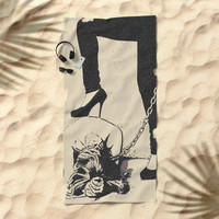 Mistress and her Pet - girls love to play dirty in fetish BDSM style, adult black and white erotic Beach Towel by Casemiro Arts - Peter Reiss