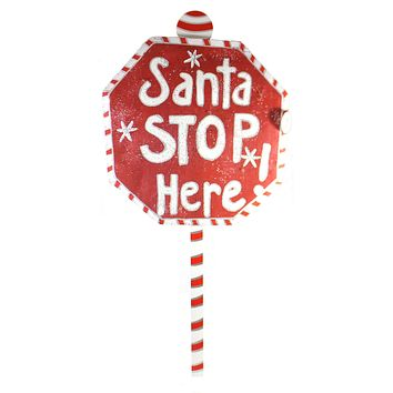 Peri Woltjer Lit Santa Stop Here Sign Christmas Door Decor