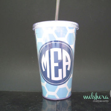 Carolina Blue Fully Customizable Tumbler - Monogram Custom Personalized Tumbler - Monogram Cup 16 oz With Straw