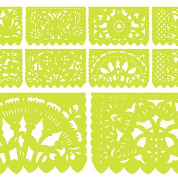 Papel Picado, Lime Green, Mexican banner, 12 feet Long, Fiesta decoration, SB13