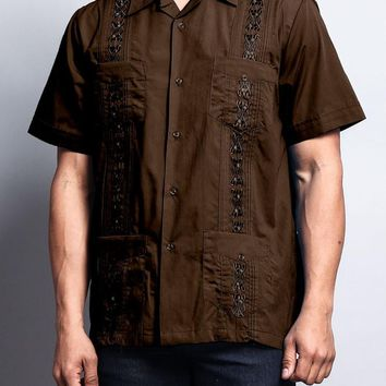 Men's Short Sleeve Cuban Style Guayabera Shirt 2000-1 (Coffee)