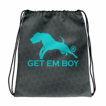 GETEMBOY® DRAWSTRING BACKPACK GB BEEHIVE TURQUOISE & CHARCOAL