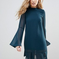 Oh My Love Textured Flare Sleeve Shift Dress With Pephem at asos.com