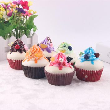 1Pc 7CM Paper Cup Creamy Cake Kids' Kitchen Toys Similation Bakery Decoration Props Frosting Cute Cake Toy Random Color