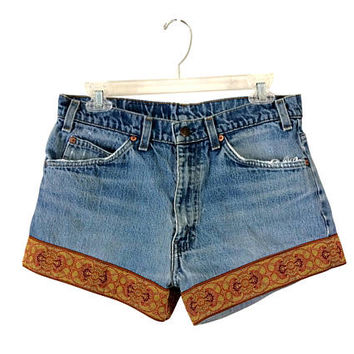 Women Levis Shorts Bohemian Shorts Boho Shorts Faded Levis High Waist Shorts Blue Jean Shorts Boho Clothes Highwaisted Shorts High Waste